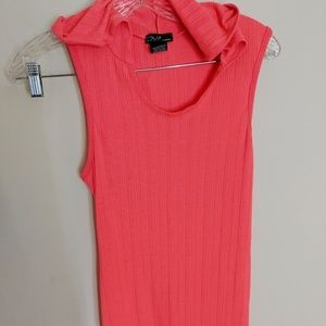 Bright Coral Colored Hooded Dress or Swim Coverup